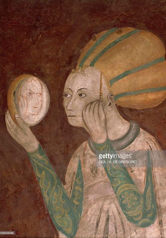 """Часть фрески """"Девушка в зеркале"""", Италия, XV век"""